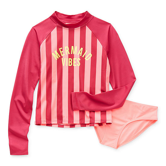 Arizona Little & Big Girls Striped Rash Guard Set