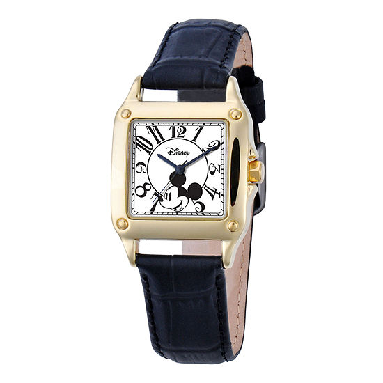 Disney Womens Mickey Mouse Black Leather Strap Watch