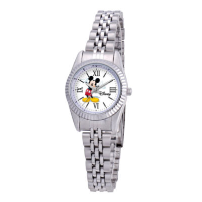 Disney Status Womens Mickey Mouse Silver-Tone Metal Bracelet Watch