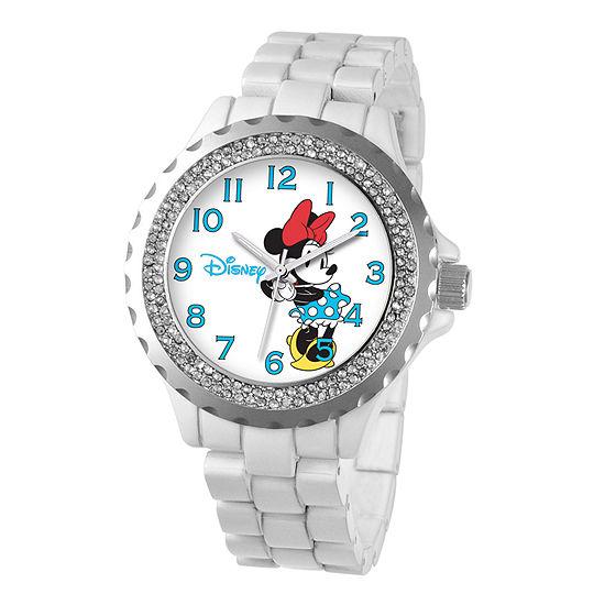 Disney Womens Minnie Mouse White Enamel Sparkle Watch