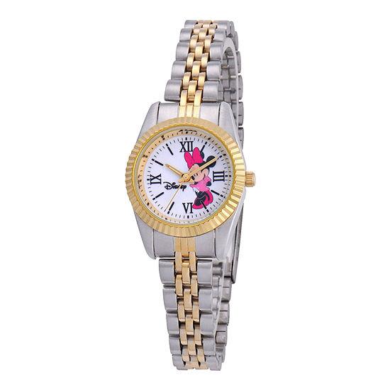 Disney Status Womens Minnie Mouse Two-Tone Metal Bracelet Watch