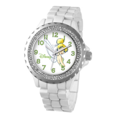 Disney Womens Tinker Bell White Enamel Sparkle Watch