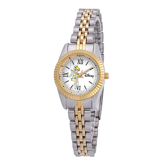 Disney Status Womens Tinker Bell Two-Tone Metal Bracelet Watch