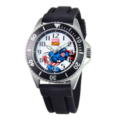 Marvel Honor Mens Captain America Black Rubber Strap Watch