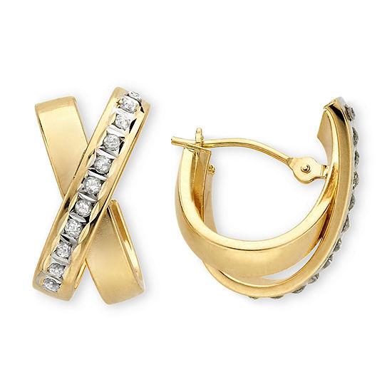 Diamond Fascination 14k Yellow Gold X Earrings