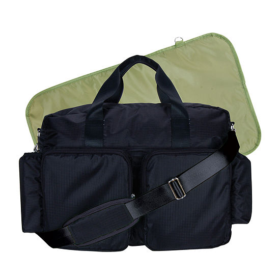 Trend Lab Deluxe Duffle Diaper Bag Black And Avocado Green