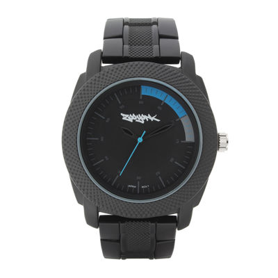 Zoo York® Mens Matte Black And Blue Bracelet Watch
