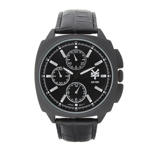 Zoo York® Mens Matte Black Leather Strap Watch