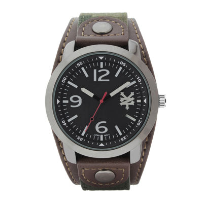 Zoo York® Mens Brown Camouflage And Black Strap Watch