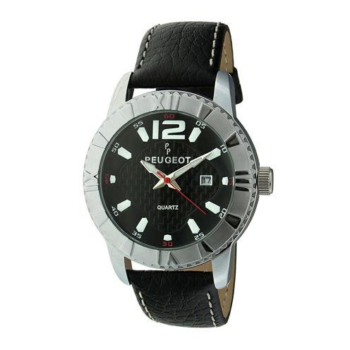 Peugeot® Mens Black Leather Strap Sport Watch