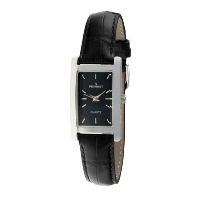 Peugeot® Women's Silver Tone Black Leather Strap Watch