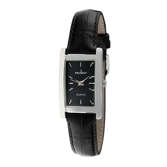 Peugeot® Womens Silver-Tone Black Leather Strap Watch