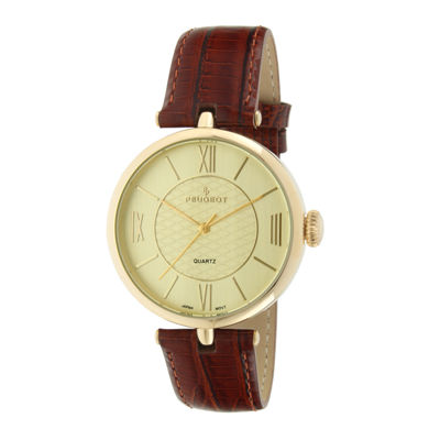 Peugeot® Womens Gold-Tone Brown Leather Strap Watch