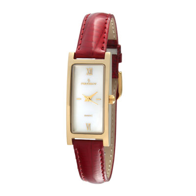Peugeot® Women's Gold Tone Red Leather Strap Watch
