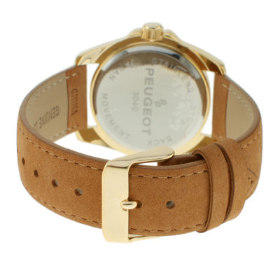 Peugeot® Womens Gold-Tone Multifunction Tan Suede Strap Watch