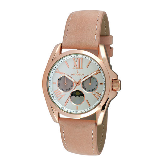 Peugeot® Womens Rose-Tone Multifunction Pink Suede Strap Watch