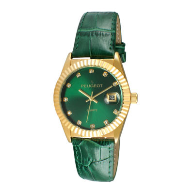 Peugeot® Women's Gold Tone Coin Edge Bezel Crystal Marker Green Leather Stap Watch