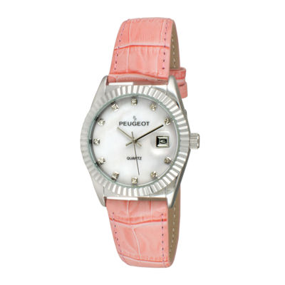 Peugeot® Women's Silver Tone Coin Edge Bezel Crystal Marker Pink Leather Stap Watch