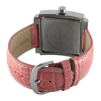 Peugeot® Women's Silver Tone Rectangle Pink Leather Strap Watch
