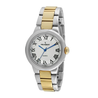 Peugeot® Women's Two-Tone Roman Numeral Round Bracelet Watch