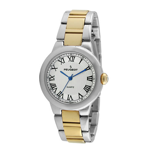 Peugeot® Womens Roman Numeral Two-Tone Link Bracelet Watch
