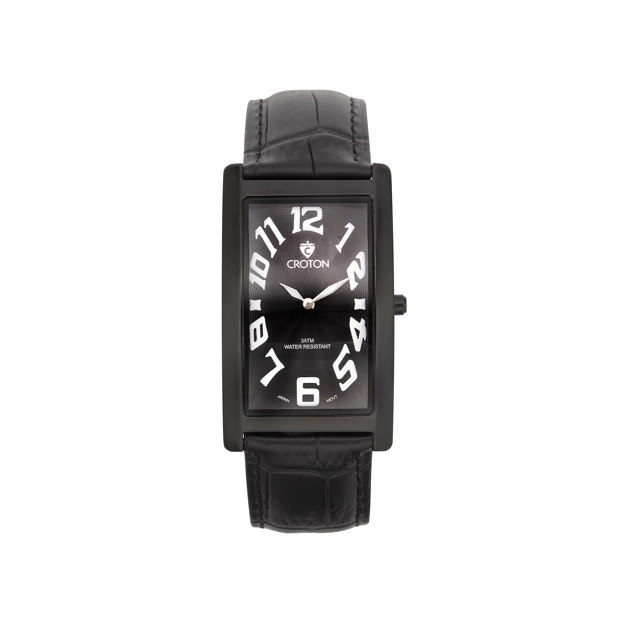Croton Mens Black Rectangular Strap Watches