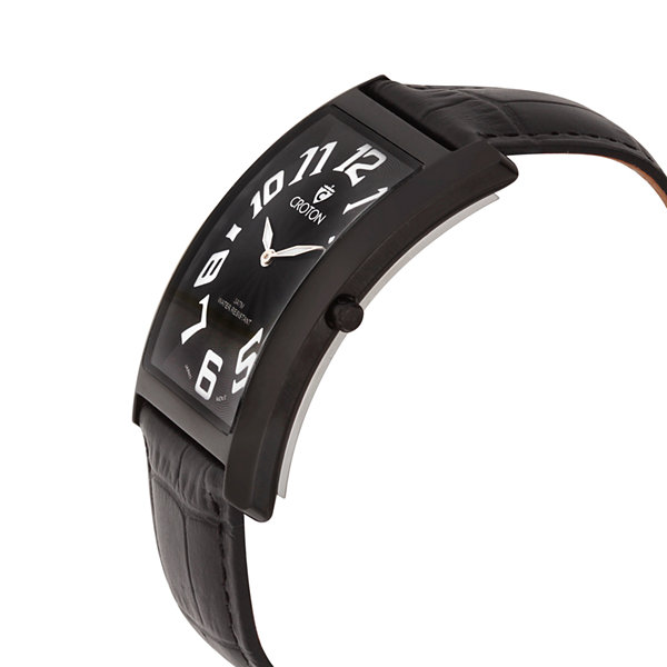 Croton Mens Rectangular Black Leather Strap Watch