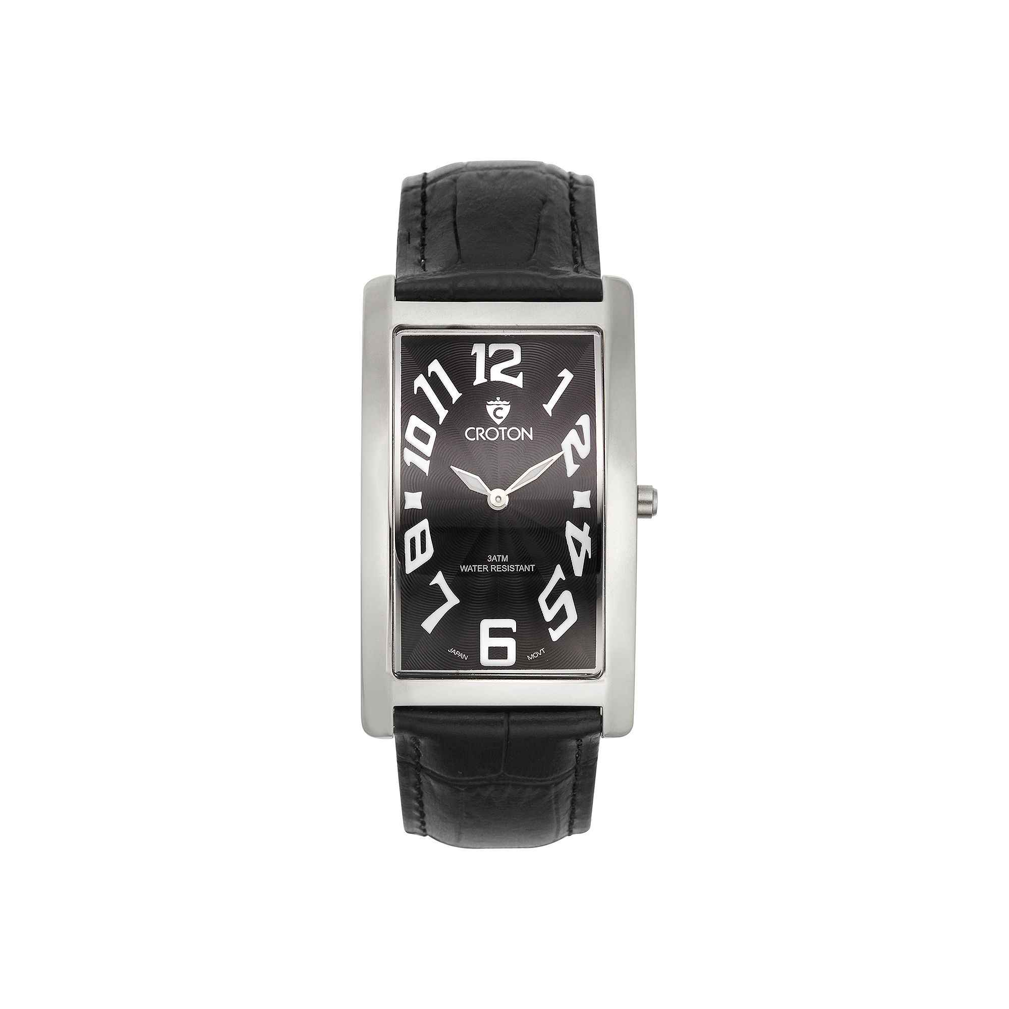 Croton Mens Black And Silvertone Rectangular Strap Watches