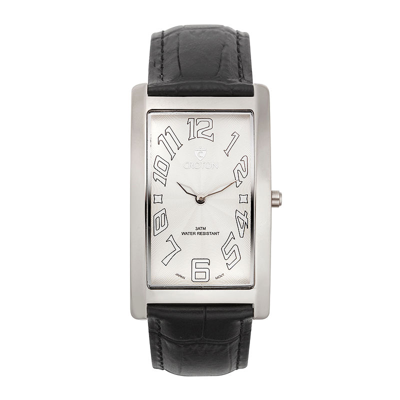 Croton Mens Black And White Rectangular Strap Watches