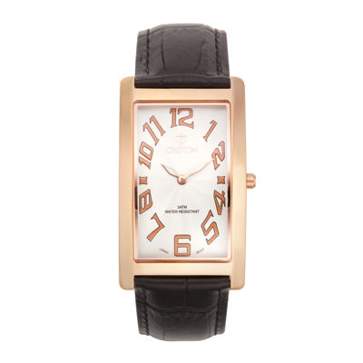 Croton Mens Brown And Rose Rectangular Strap Watches