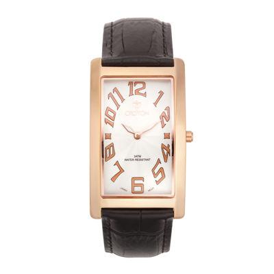 Croton Mens Rectangular Brown Leather Strap Watch