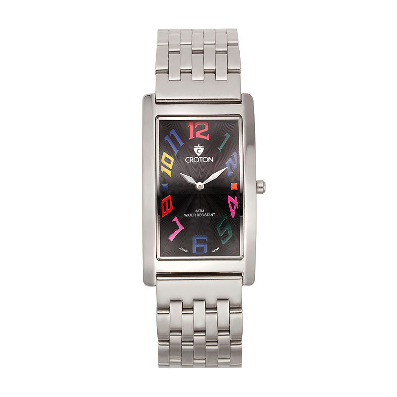 Croton Mens Silver And Black Dial Rectangular Strap Watches