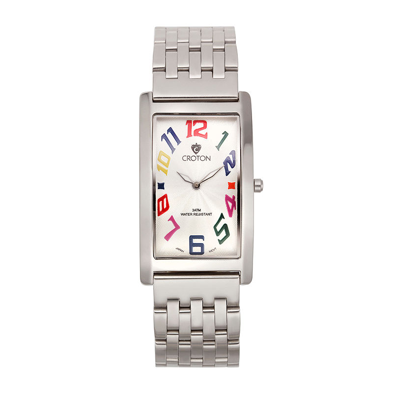 Croton Mens Silver And White Dial Rectangular Strap Watches