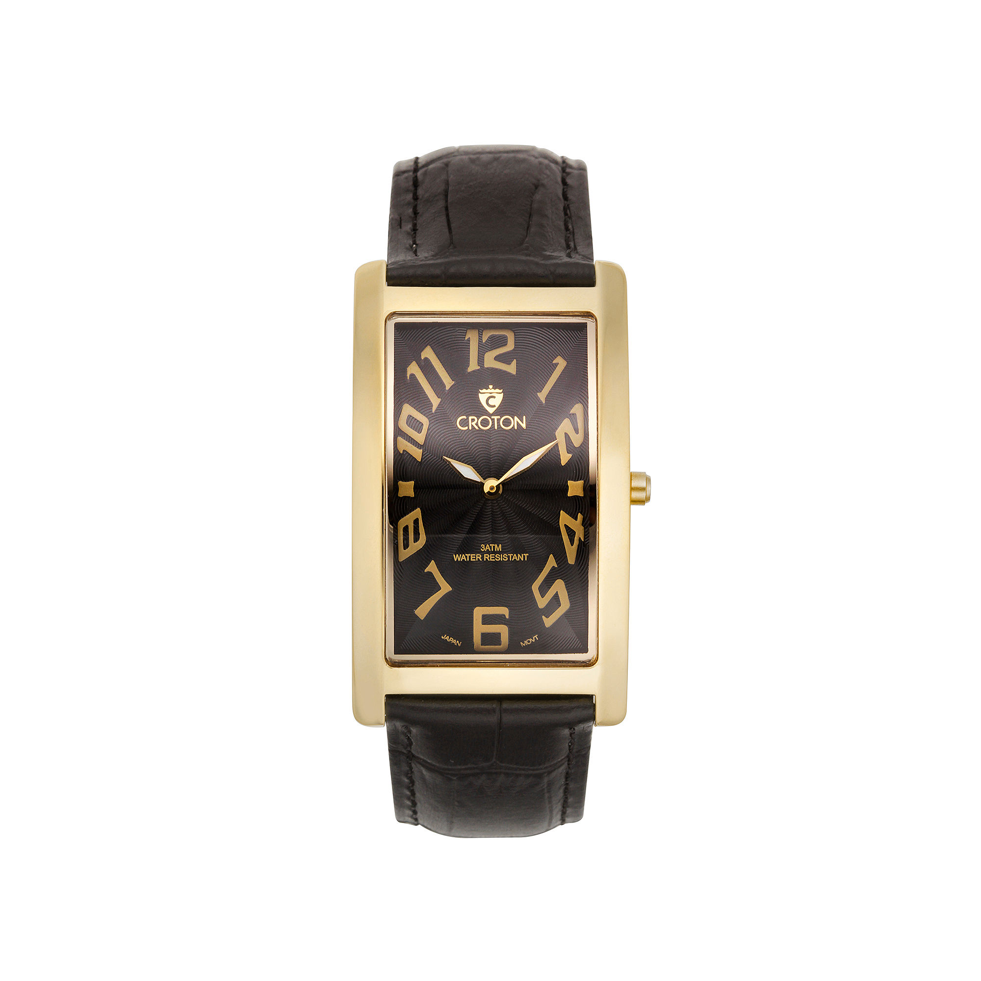 Croton Mens Black And Goldtone Rectangular Strap Watches