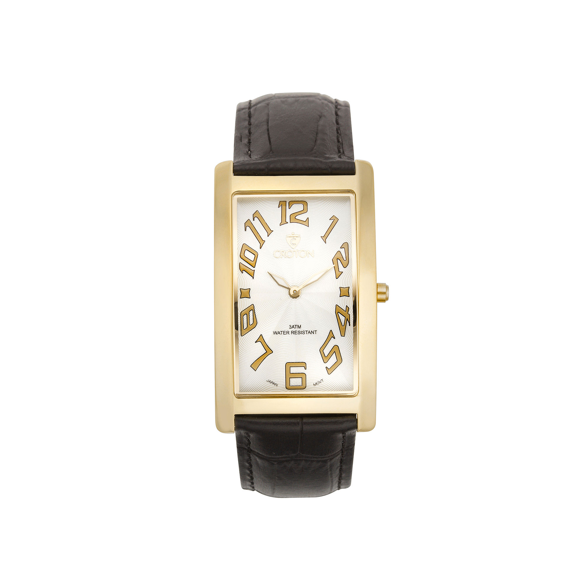Croton Mens Brown And White Rectangular Strap Watches