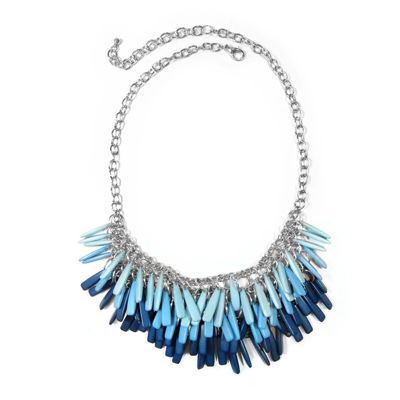 Studio By Carol Dauplaise Silver-Tone Blue Stick Fringe Bib Necklace