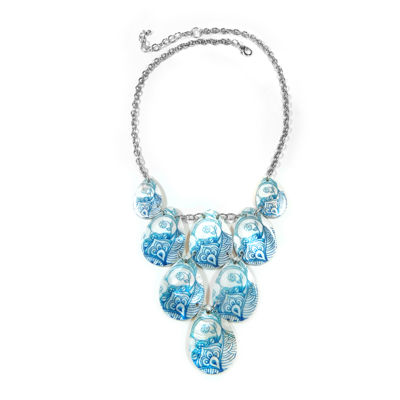 Studio By Carol Dauplaise Blue Shell Silver-Tone Collar Necklace