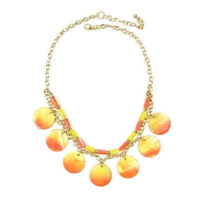 Studio by Carol Dauplaise Gold-Tone Triple Row Sunrise Disc Pendant Necklace
