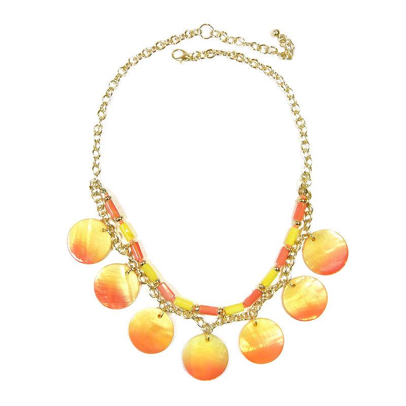 Studio by Carol Dauplaise Gold-Tone Triple Row Sunrise Disc Pendant Necklace