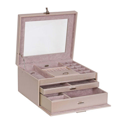 Mele & Co. Pearl Glass Top Faux Leather Jewelry Box