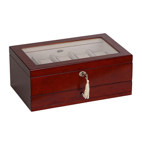 Mele & Co. Walnut Glass Top Watch Box