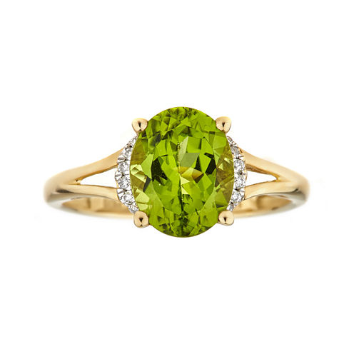 LIMITED QUANTITIES  Genuine Peridot and Diamond-Accent 10K Yellow Gold Ring