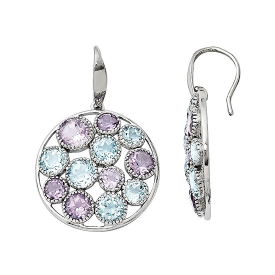 Genuine Topaz and Amethyst Sterling Silver Round Drop Earrings