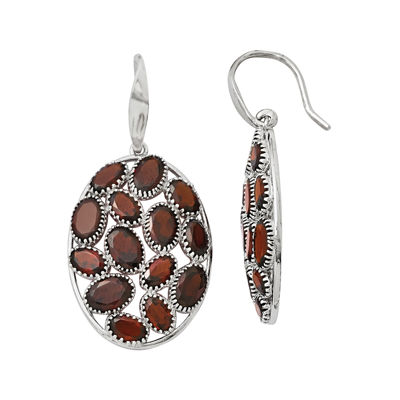 Genuine Red Garnet Sterling Silver Oval Drop Earrings