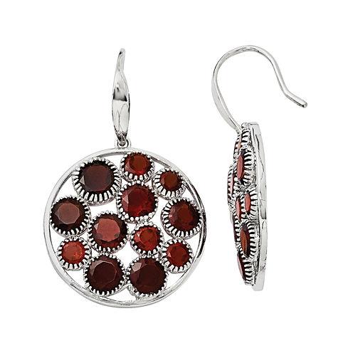 Genuine Red Garnet Sterling Silver Round Drop Earrings