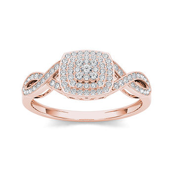 1 4 Ct T W Diamond 10k Rose Gold Engagement Ring Color Rose Gold Jcpenney