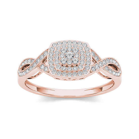 1/4 CT. T.W. Diamond 10K Rose Gold Engagement Ring