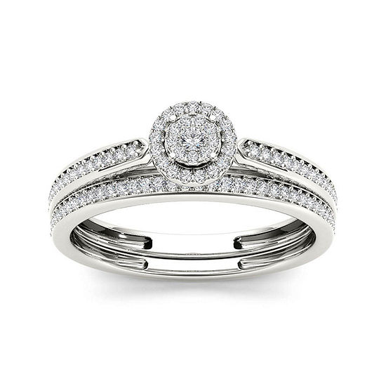 1/4 CT. T.W. Diamond 10K White Gold Bridal Ring Set