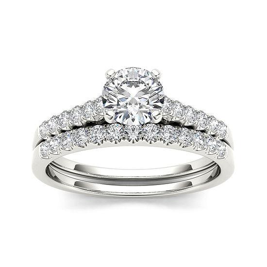 1 Ct T W Diamond 10k White Gold Bridal Ring Set Color White
