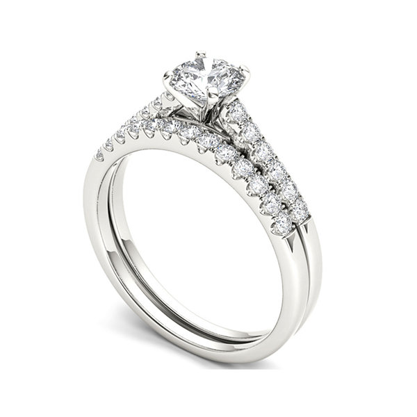 1 CT T W Diamond 10K White Gold Bridal Ring Set JCPenney